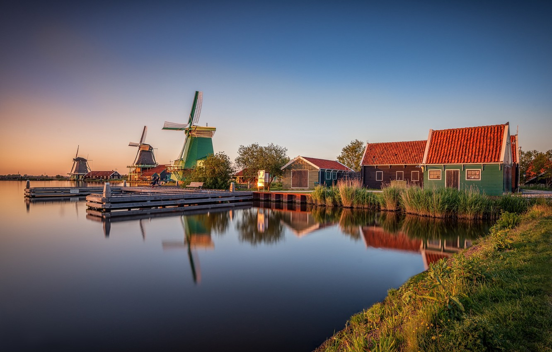 Photo wallpaper home, mill, Holland, Zaanse Schans