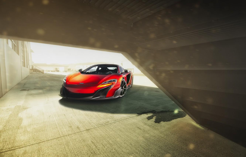 Photo wallpaper McLaren, Orange, Front, Supercar, Automotive, 675LT