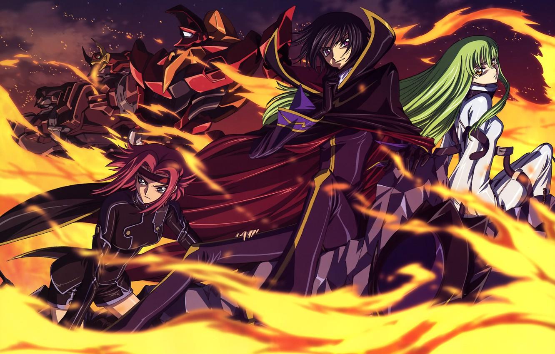 Photo wallpaper flame, anime, Sisi, code geass, Karen, nightmares, Lelouch, code geass, scarlet Lotus, zero