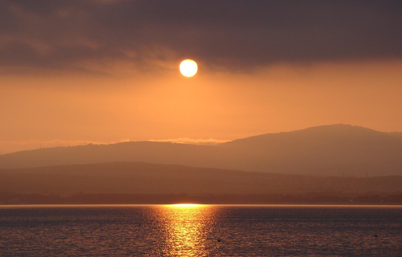 Photo wallpaper sea, the sun, sunset, mountains, nature, Gelendzhik, Kuban, Akela White