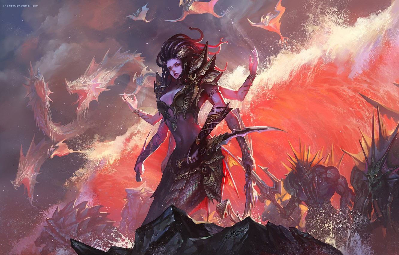 Photo wallpaper girl, game, art, wow, world of warcraft, chenbo, upscale, chenbowow