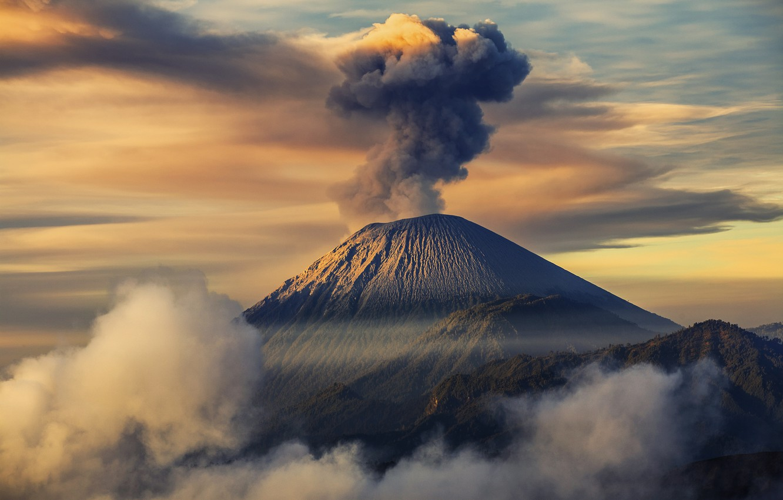 Photo wallpaper Indonesia, Java, Semeru, Tengger, semeru volcano, volcanic complex-the Caldera TenGer