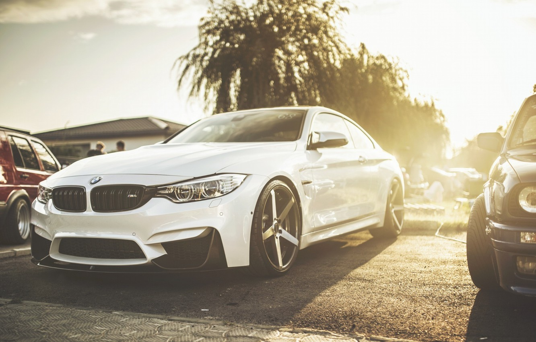 Photo wallpaper BMW, Car, Sun, White, Automobiles, Capitole, Lowsociety