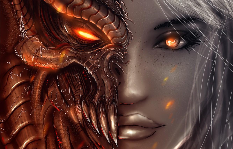 Photo wallpaper look, girl, face, angel, the demon, art, Diablo 3, Angels, Demons