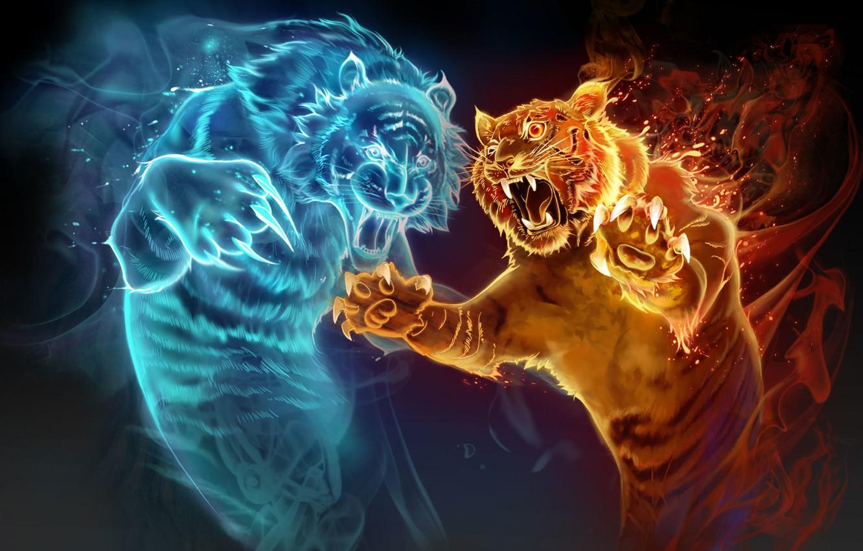 Photo wallpaper water, tiger, fire, magic, the game, perfume, art