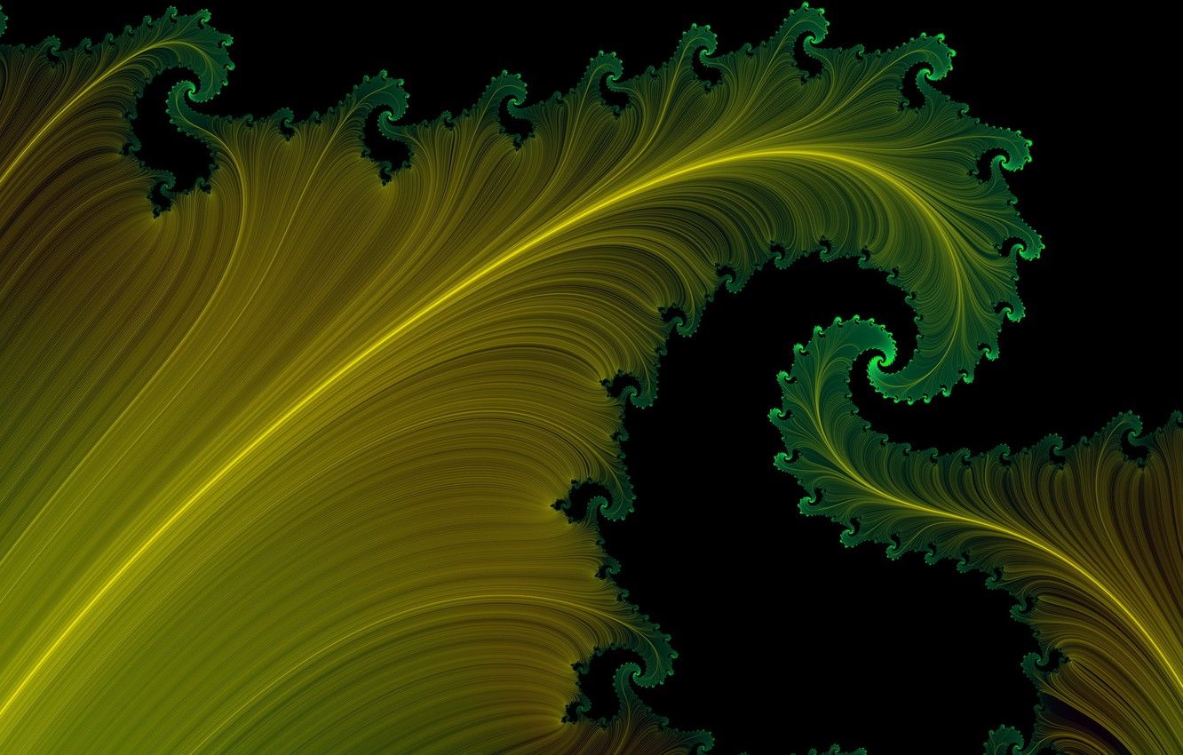 Photo wallpaper leaves, yellow, green, black background