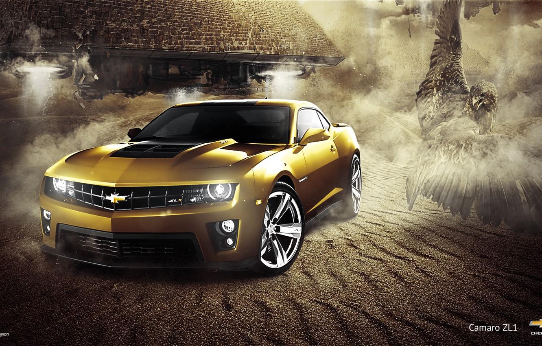 Photo wallpaper Chevrolet, Muscle, Camaro, Eagle, Car, ZL1, Gold