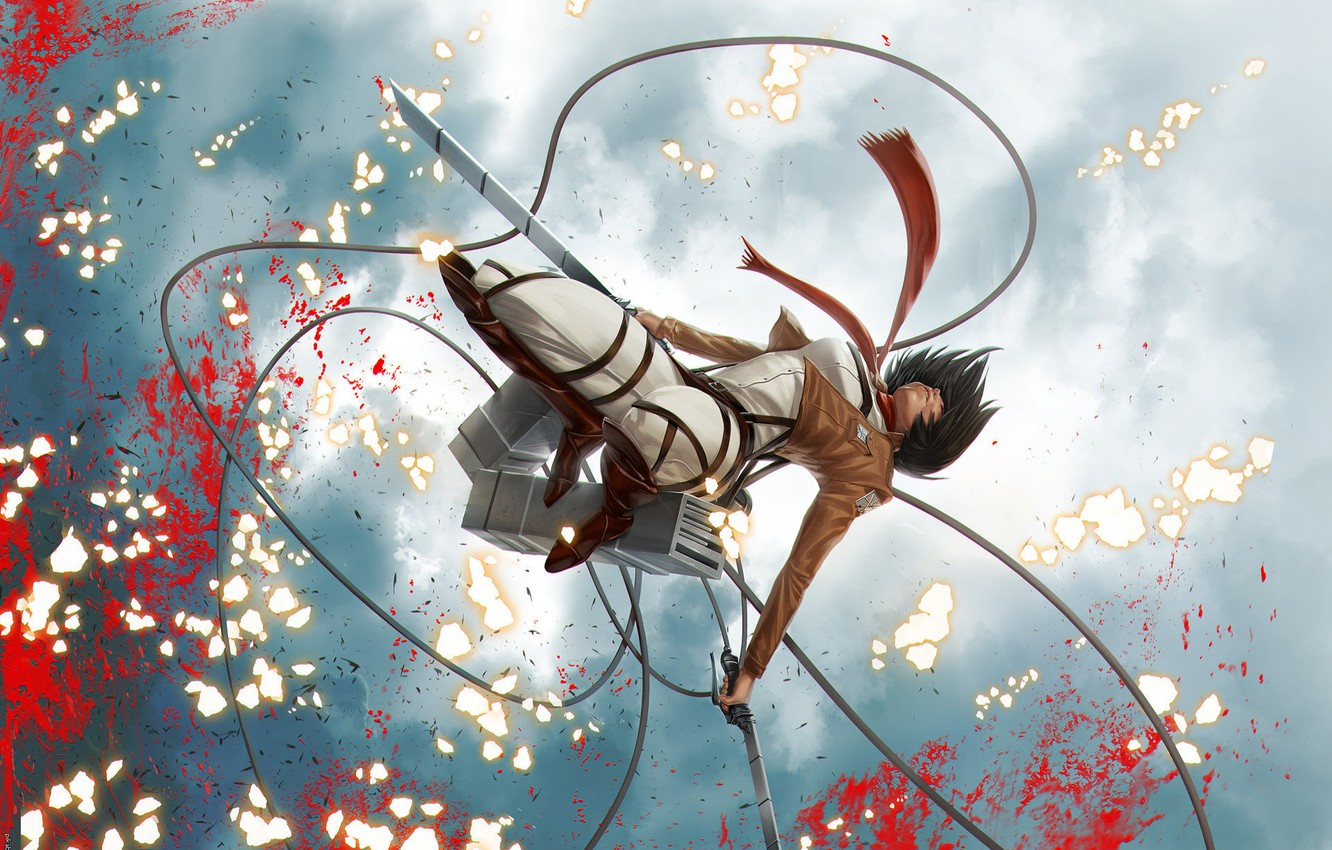 Wallpaper The Sky Squirt Jump Blood Swords Military Uniform Fan Art Shingeki No Kyojin Mikasa Ackerman Drive Red Scarf The Invasion Of The Giants Images For Desktop Section Syonen Download