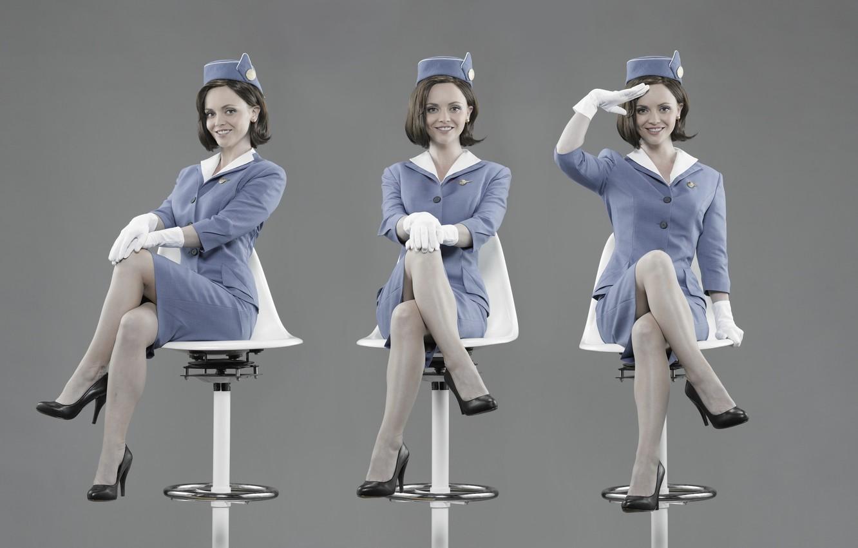 Photo wallpaper girl, woman, pretty, cute, actress, uniform, Pan Am, Christina Ricci, stewardess, airline, Pan American