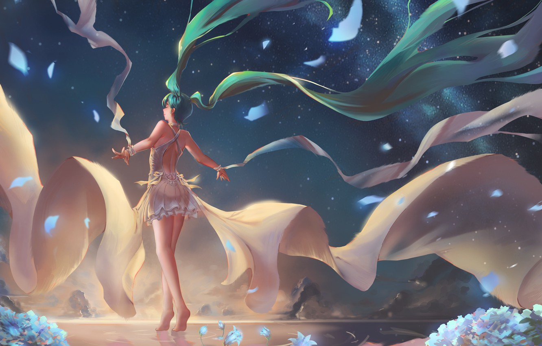Photo wallpaper the sky, water, girl, stars, sunset, flowers, mountains, nature, anime, art, vocaloid, hatsune miku, chiwa, …