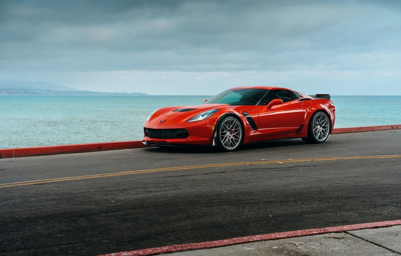 Photo wallpaper car, Z06, red, Chevrolet Corvette