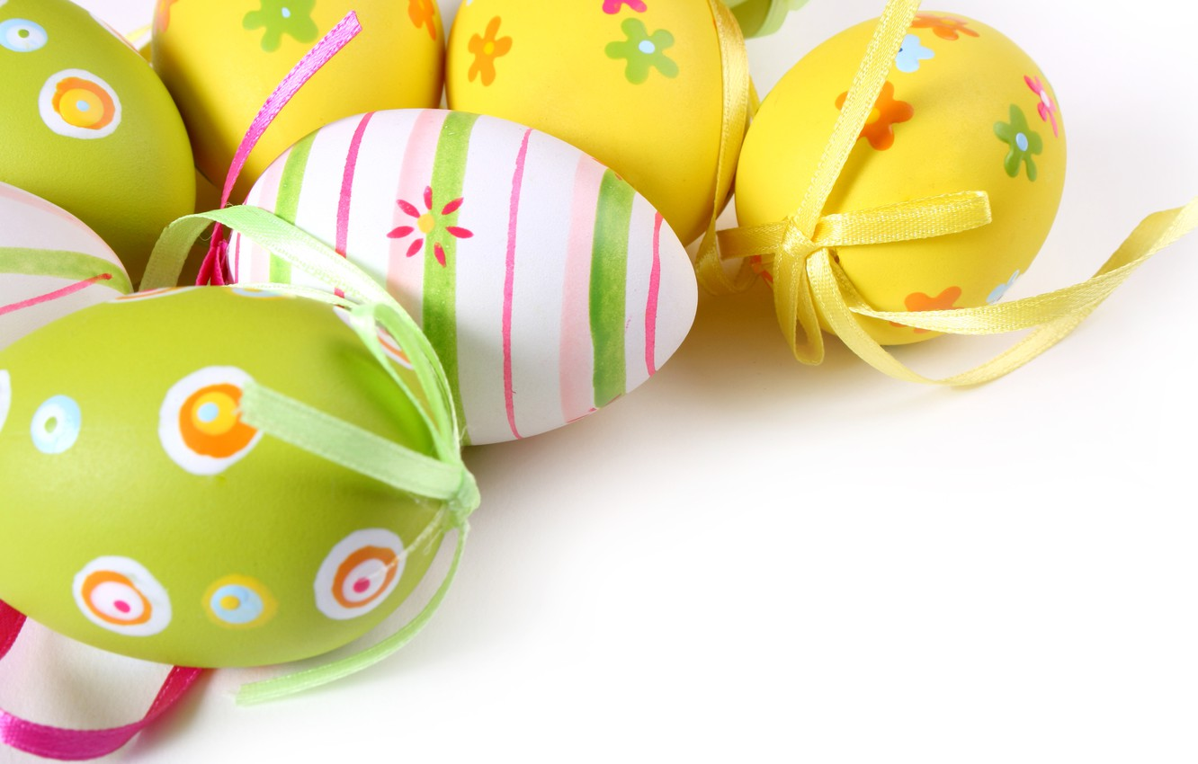 Photo wallpaper holiday, pattern, eggs, Easter, colorful, bow