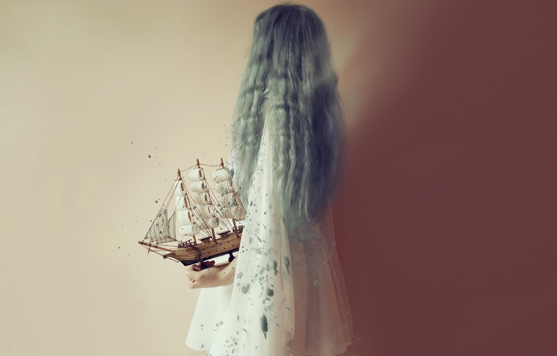 Photo wallpaper girl, background, boat