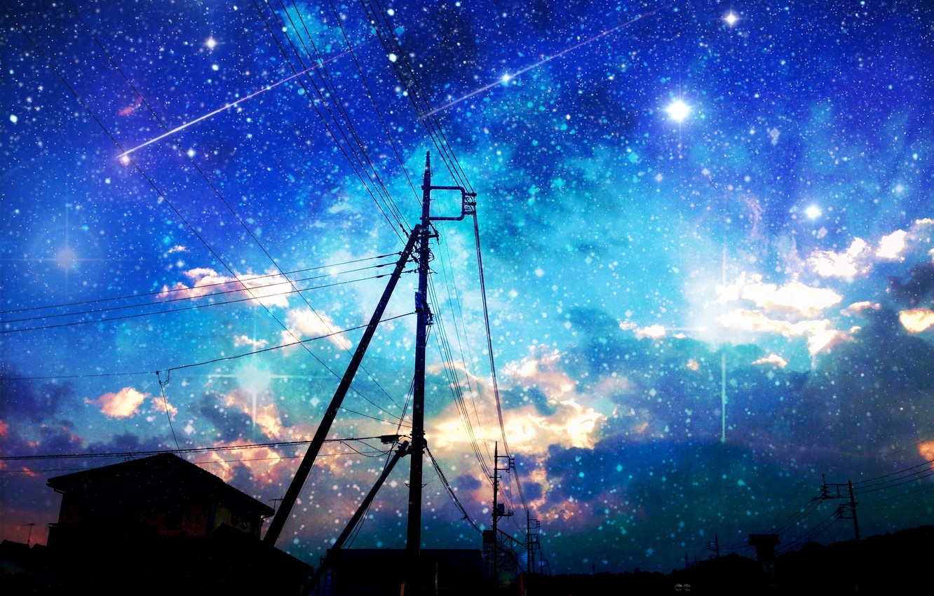 Photo wallpaper the sky, stars, clouds, the city, sunrise, posts, wire, home, anime, art, asuka