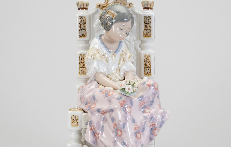 Photo wallpaper girl, flowers, chair, porcelain