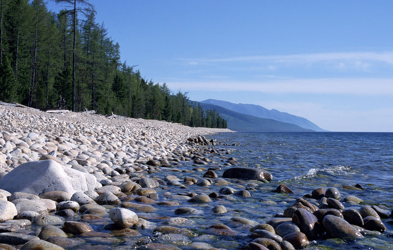 Photo wallpaper Water, Mountains, Trees, Forest, Stones