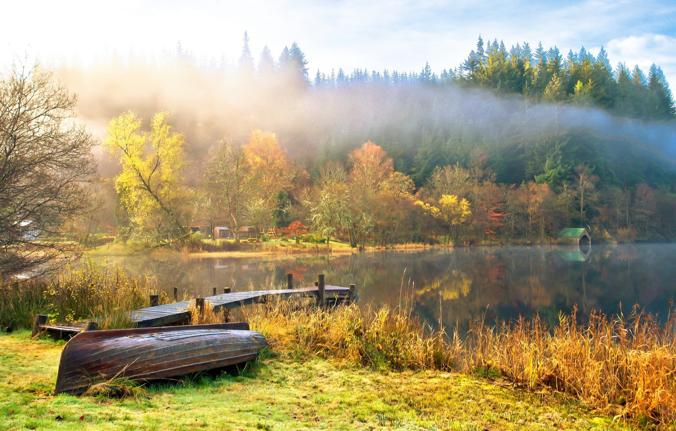 Photo wallpaper autumn, the sky, water, clouds, trees, landscape, nature, lake, boats