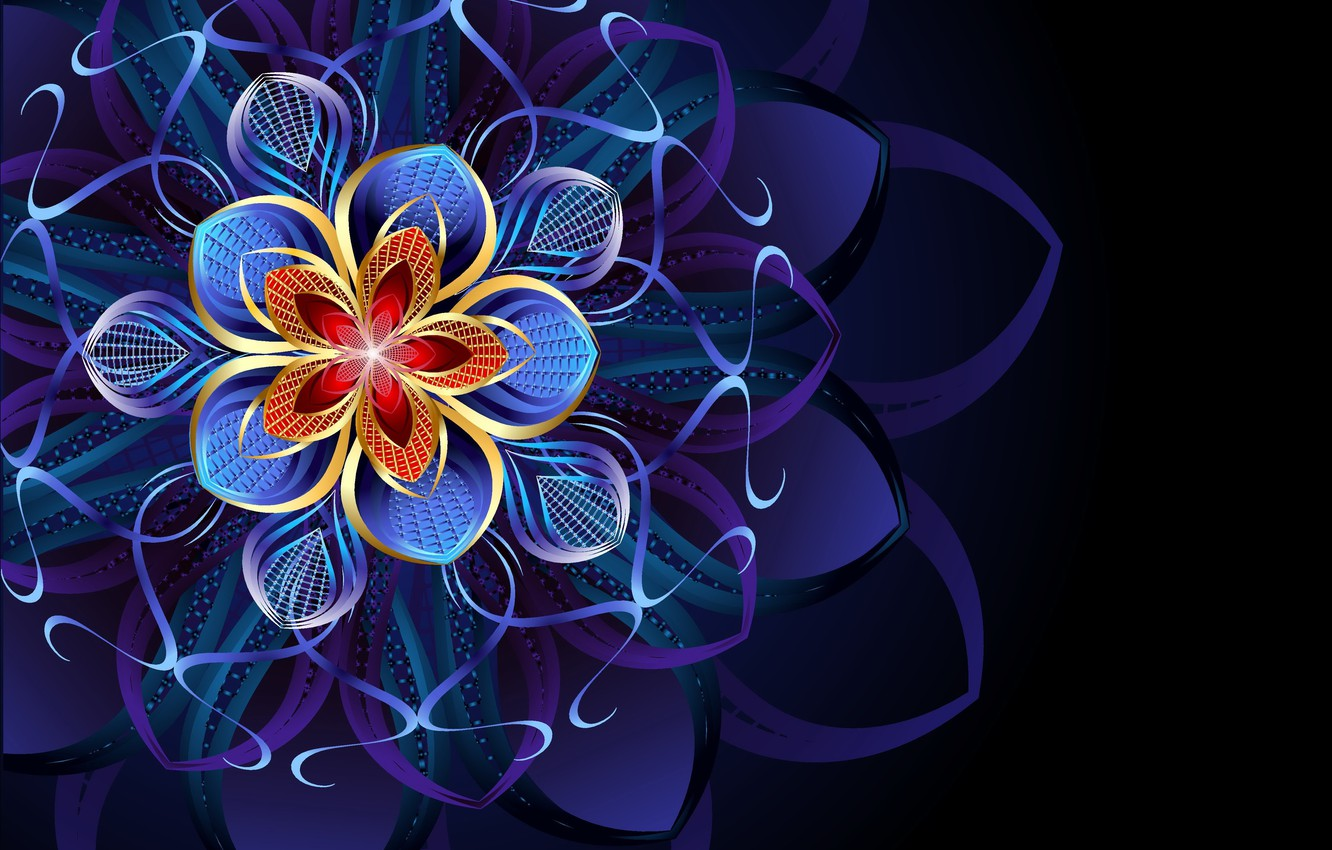 Photo wallpaper flower, abstraction, pattern, flower, pattern, abstraction