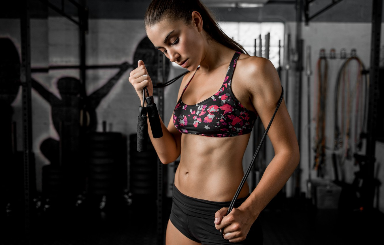 Photo wallpaper face, hair, figure, hall, fitness, press, the gym, jump rope, Dani