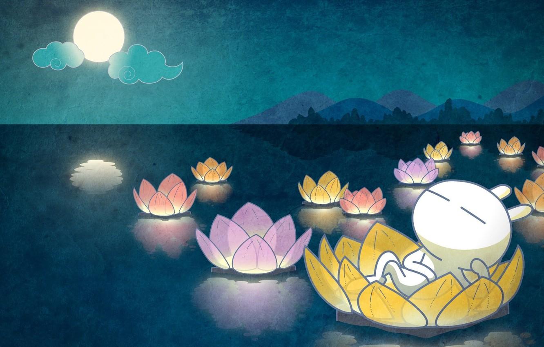Photo wallpaper water, night, lake, sleep, anime, baby, art, Lotus, moon Bunny