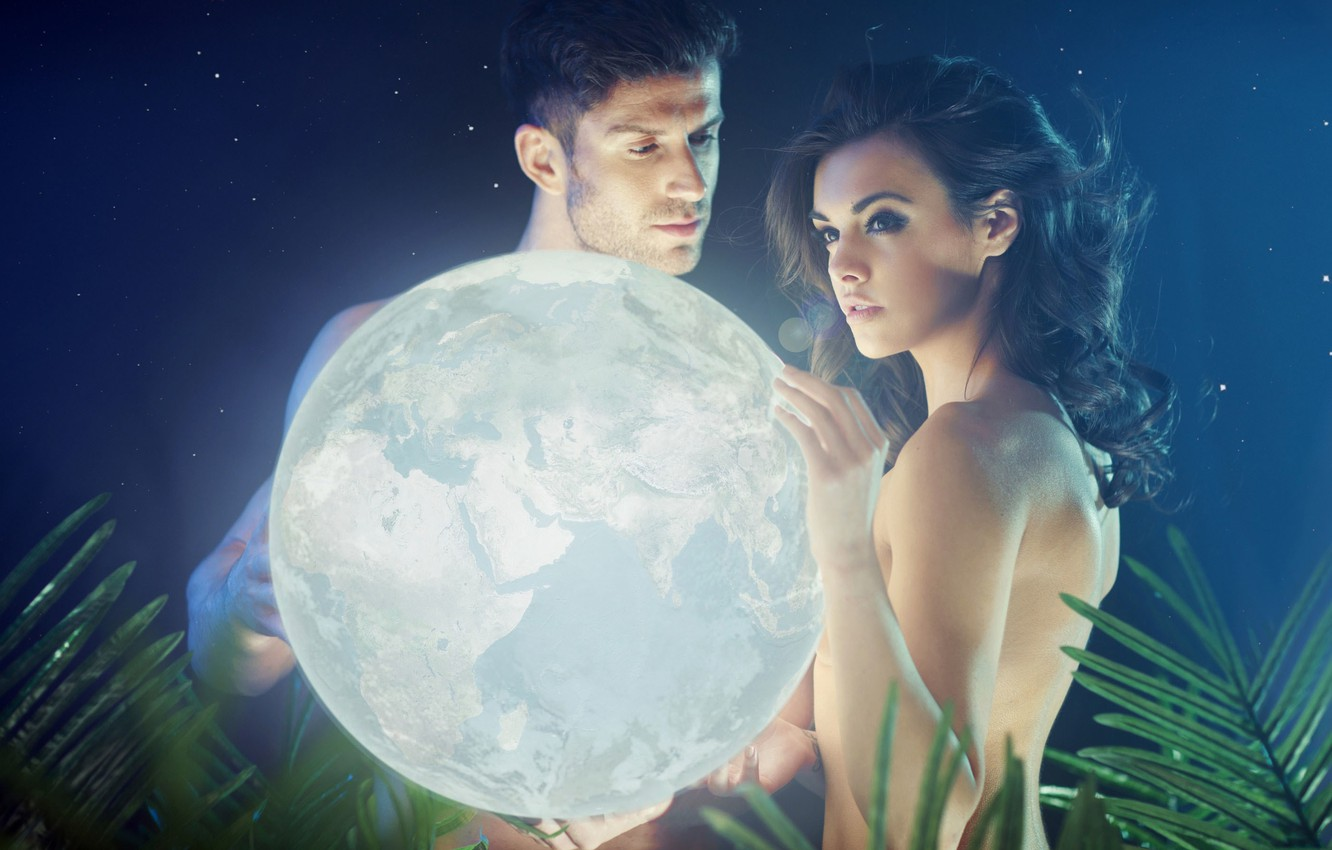 Photo wallpaper look, girl, light, night, planet, stars, guy, fern, keep