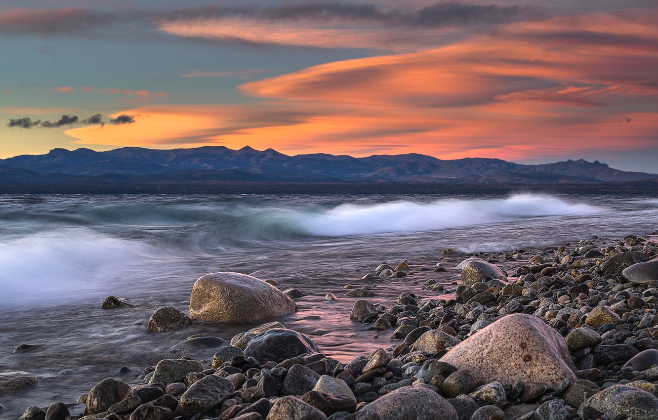 Photo wallpaper wave, mountains, stones, shore, the evening, Argentina, Patagonia
