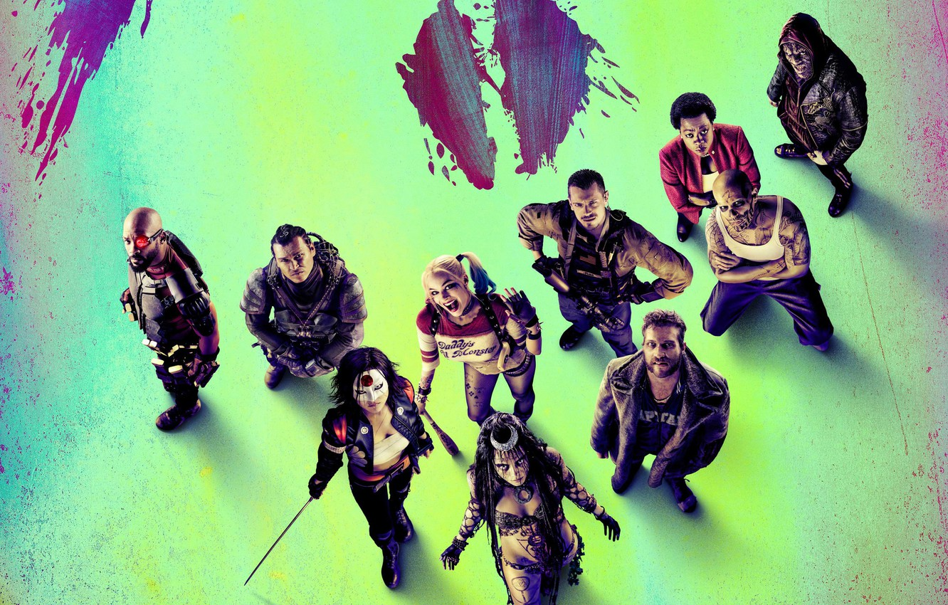 Photo wallpaper Bad, Girls, Guns, Will Smith, Witches, Team, harley quinn, Weapons, DC Comics, Movie, Film, enchantress, …