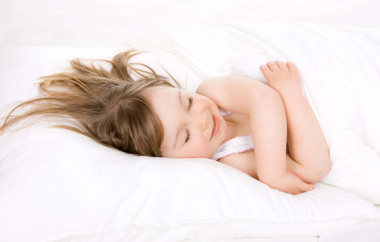Photo wallpaper smile, sleep, pillow, blanket, baby, child