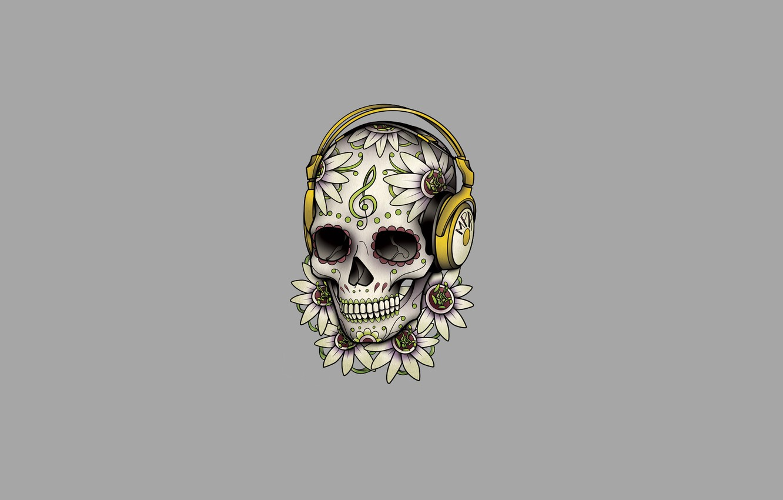 Photo wallpaper flowers, patterns, skull, minimalism, head, headphones, skeleton, light background