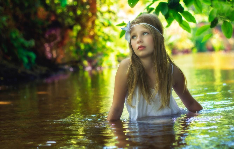 Photo wallpaper water, stream, for, girl