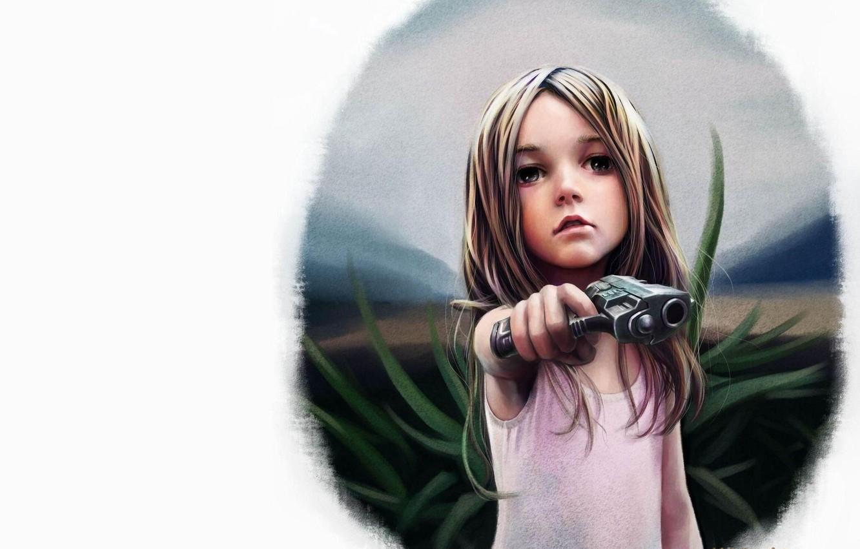 Photo wallpaper gun, figure, girl