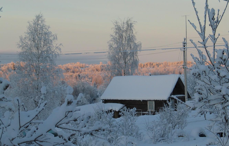 Photo wallpaper snow, trees, house, Winter