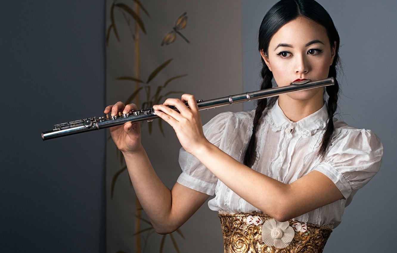 Photo wallpaper girl, flute, Anjillah
