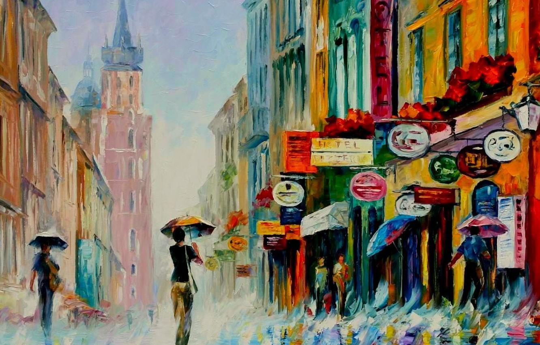 Photo wallpaper rain, oil, picture, signs