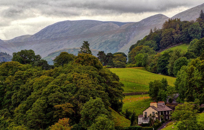 Photo wallpaper trees, mountains, house, field, England