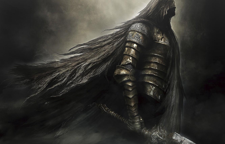 Photo wallpaper darkness, sword, armor, hood, armor, knight, Namco Bandai Games, Dark Souls 2, From Software, Dark …