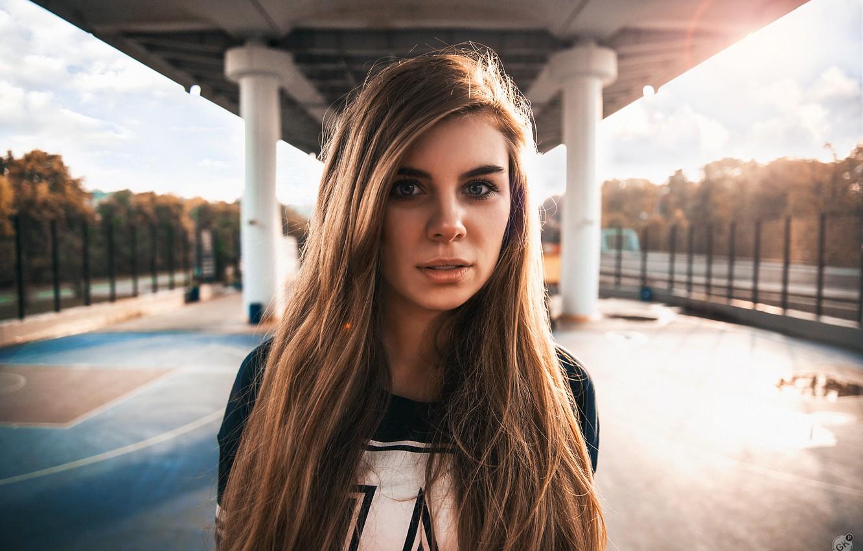 Photo wallpaper girl, the sun, street, portrait, Playground