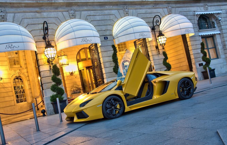 Photo wallpaper yellow, the building, Lamborghini, supercar, supercar, yellow, aventador, lp700-4, Lamborghini, aventador, building