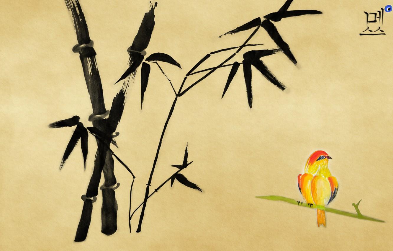 Photo wallpaper figure, bamboo, bird, character