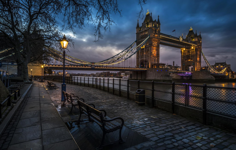 Photo wallpaper city, the city, lights, river, England, London, the evening, lights, UK, the sidewalk, Tower bridge, …