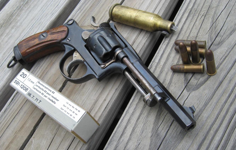 Photo wallpaper box, Board, bullets, Revolver