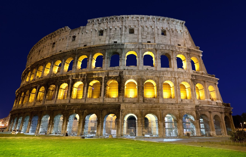 Photo wallpaper grass, light, the evening, Rome, Colosseum, Italy, architecture, Italy, Colosseum, Rome, amphitheatre