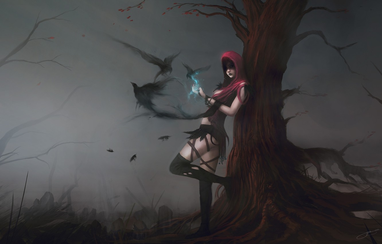 Photo wallpaper girl, birds, fog, tree, magic, art, hood, crows, dragon age, morrigan, blinck