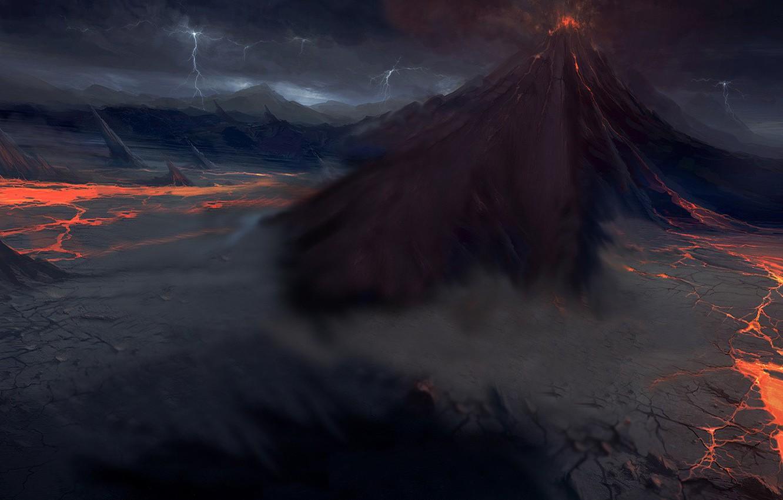 Photo wallpaper zipper, The volcano, lava