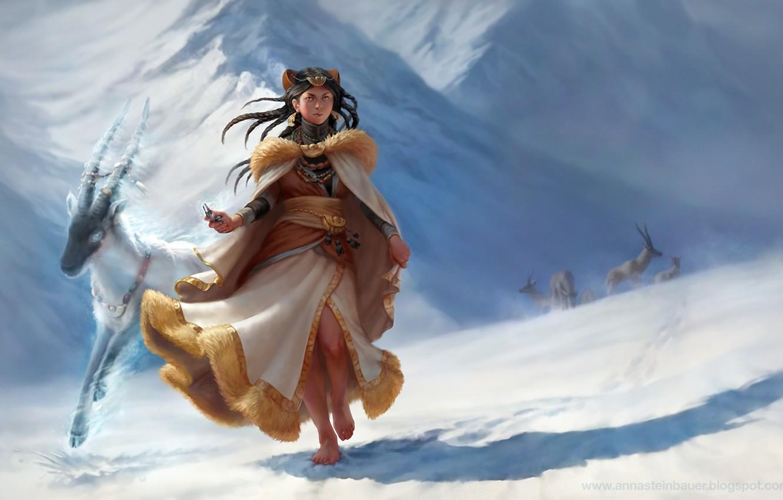 Photo wallpaper animals, girl, snow, mountains, goat, barefoot, art, horns, call, depingo