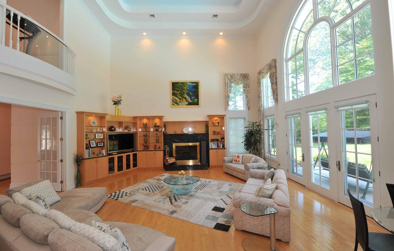 Photo wallpaper TV, fireplace, sofas, interior, home, furniture.