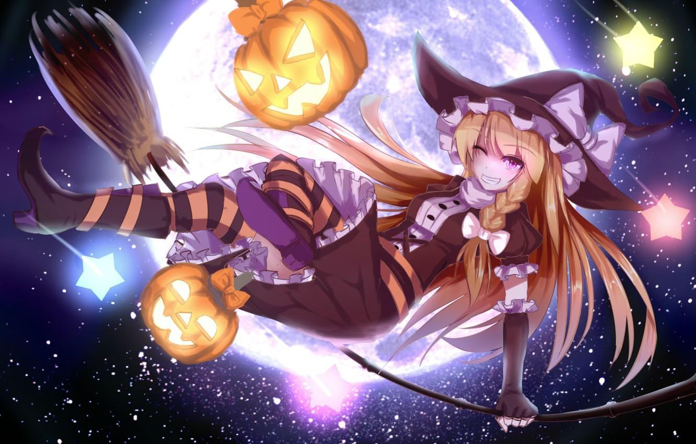 Photo wallpaper the sky, girl, stars, holiday, the moon, hat, anime, art, pumpkin, halloween, touhou, wink, kirisame …