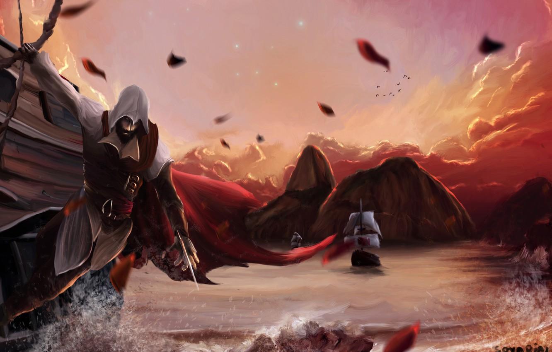 Photo wallpaper sea, sunset, rocks, ships, art, assassins creed, art, assassin