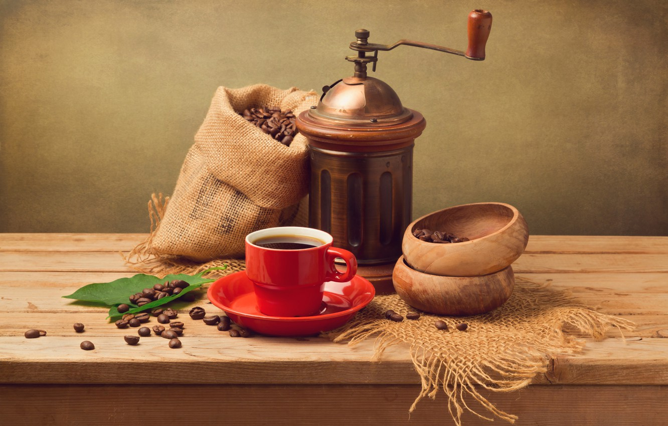Photo wallpaper leaves, coffee, grain, Cup, red, saucer, pouch, coffee grinder