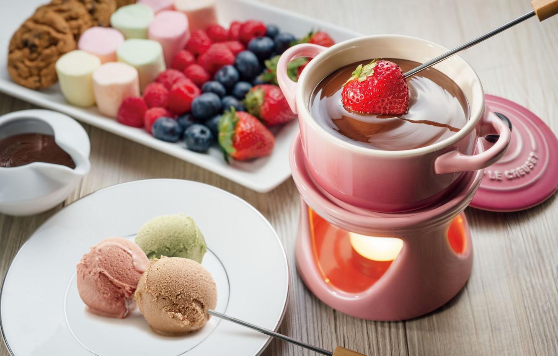 Photo wallpaper food, cookies, ice cream, fruit, dessert, fruit, dessert, cookies, ice cream, marshmallow, chocolate fondue, chocolate …